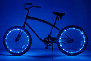 bicycle with blue wheel brightz on each wheel