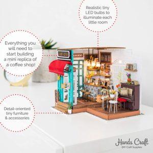 simon's coffee shop miniature dollhouse building kit