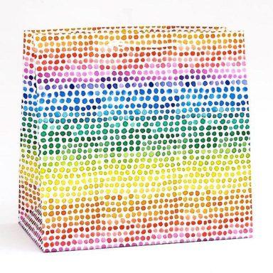 rainbow watercolor dot bag