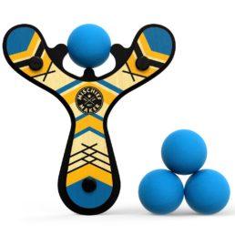 slingshot with blue foam balls